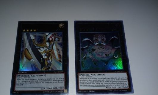 2 ULTRA RARE HOLO YUGIOH XYZ CARDS NUMBER 39 UTOPIA AND NUMBER 26 SPACEWAY OCTOBYPASS