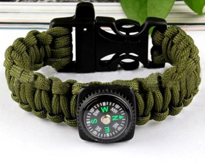 5.56$ Braided Outdoor Multifuctional Survival Bracelets Camping Compass