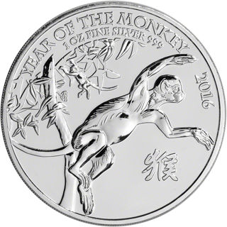 2016 Great Britain Silver Year of the Monkey 2 Pounds 1 oz .999 Fine Silver BU