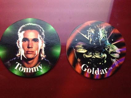 "Power Rangers Rare Pogs!! Lot of 2!! ""Tommy"" & ""Goldar""!!"