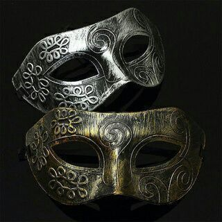 2PCs Men Burnished Antique Silver Gold Venetian Mardi Gras Masquerade Party Ball Mask
