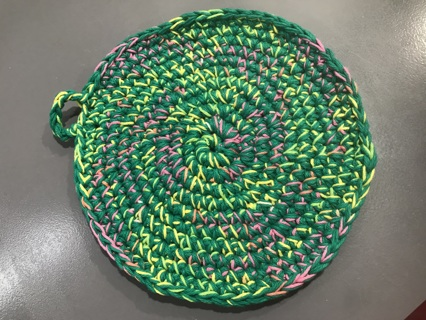 Farmhouse Potholder Qty of 1 Handmade Thick Cotton Pink, Green, Yellow etc mixed