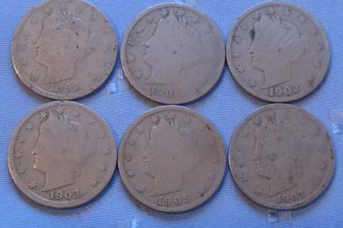 6 Liberty Nickels, 1899, 1906, 1902, 1903, 1905, 1907