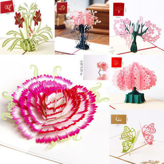 [GIN FOR FREE SHIPPING] 3D Pop Up Valentine Lover Happy Birthday Anniversary Greeting Cards