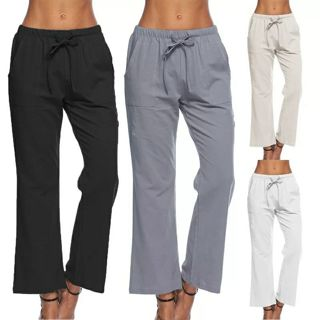 Linen Elastic Waist Women Pants 2018 Summer Beach Loose Casual Wide leg Pants