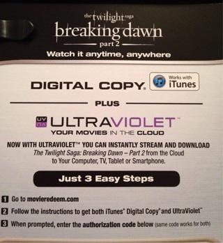 Twilight Saga Breaking Dawn Part 2 UV Digital copy