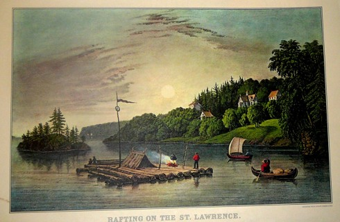 """Rafting on the St. Lawrence"" Print Copy from the Traveler's Calendar November 1966"
