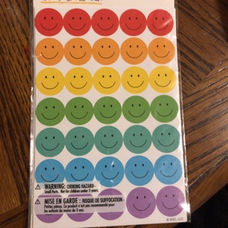 Smiley Face Stickers #1- asstd colors BNIP