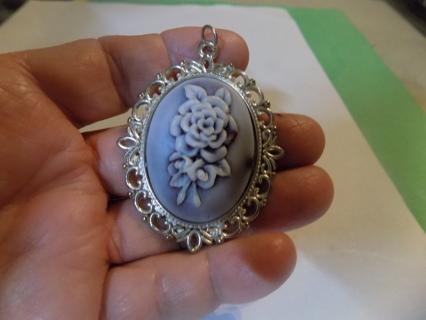 2 1/2 inch lavender, purple rose cameo pendant charm,
