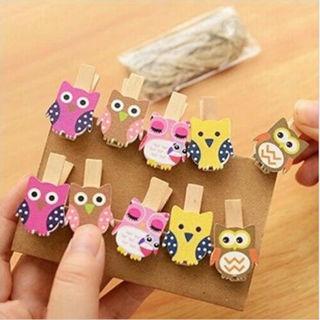 [GIN FOR FREE SHIPPING] 20Pcs Wooden Clips Kawaii Owl Photo Paper Postcard Craft DIY