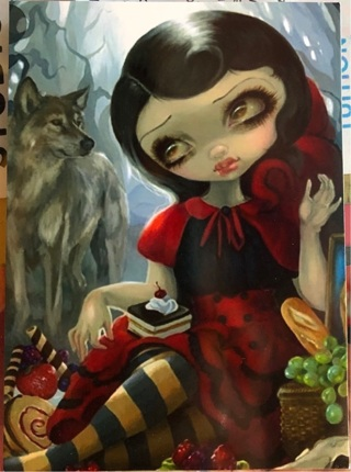 "Big Eyes in red dress with wolf - 3 x 5"" MAGNET"