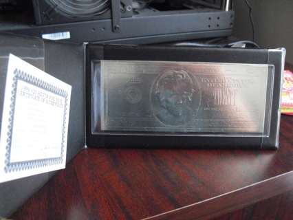 Unique The Washington Mint $20 Silver Foil Bill with Holder and COA