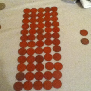 FIVE(5) WWII Red Ration Tokens! GIN GETS 60!!