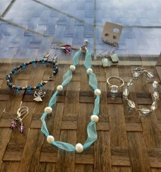 9 pc 925 & unmarked silver jewelry lot