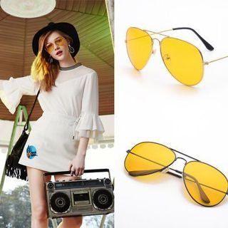 Men Driving Night Vision Glasses Women Sunglasses Yellow Lens UV400 Aviator