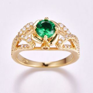 New Women Valentines Gift Lover Gold Plated Silver Ring
