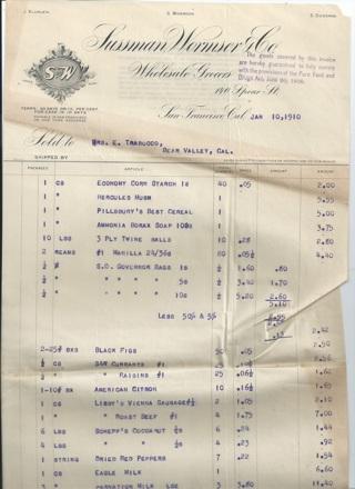 Sussman Wormser & Co. Receipt 1910 San Francisco