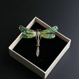 Fashion Wedding Bridal Crystal Animal Dragonfly Enamel Brooch Pin Jewelry Gift