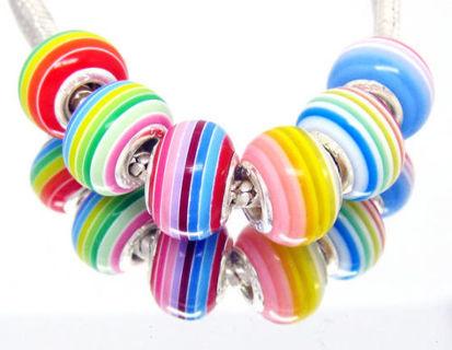 Rainbow color✿925 Stamp Core✿Random Color Resin Striped 6 Beads Fit Pandora Bracelet