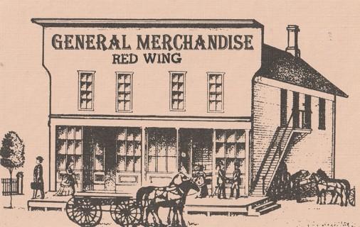 Vintage Unused Postcard: General Merchandise, Red Wing