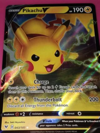 Pikachu V!! 043/185 Vivid Voltage Ultra Rare Pokemon Card minty NM-M