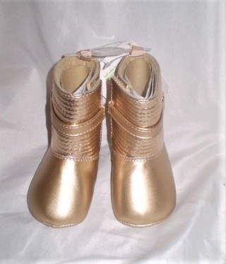 NWT BABY GIRLS GOLD TONE BOOTS SZ 2 3-6MTHS WEE KIDS