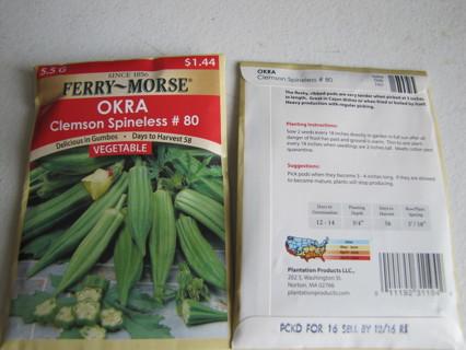 Okra Clemson Spineless Seeds