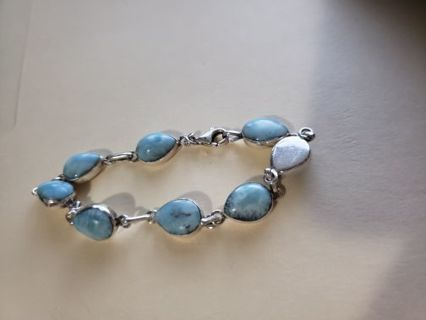 Silver turquoise bracelet 8 inches 22 grams .925