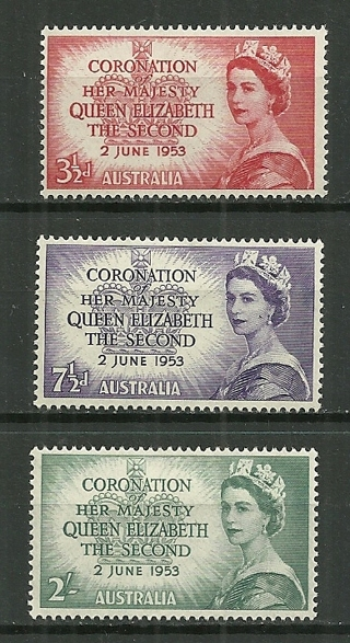 1953 Australia complete Coronation set of 3 MH SCV$4.95