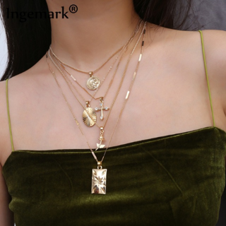 Layered Rose Cross Pendant Choker Necklace Set Boho Golden Carve Portrait Coin Long Chain Necklace