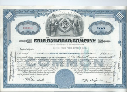 Erie Railroad stock certificate 1953 Issued to Merrill Lynch