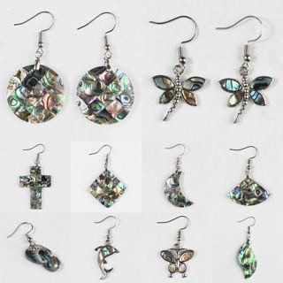 [GIN FOR FREE SHIPPING] Ambilight Abalone Shell Rhombus Heart Butterfly Silver Dangle Hook Earrings