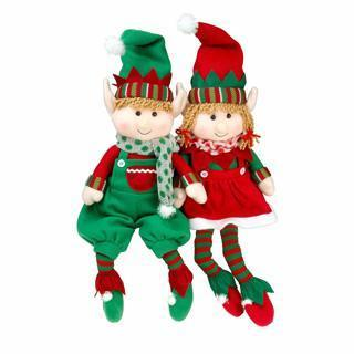 "NEW SCS Direct Elf Plush Christmas Stuffed Toys 12"" Boy Girl Elves (Set of 2) Holiday Characters"