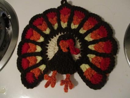Turkey Potholder. New. Crocheted by Me.