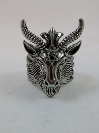 ☆ ☆ Heavy Metal Satanic Baphomet Goats Head Men's Ring. Size 10 - NEW