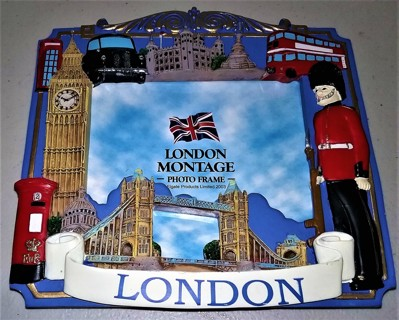 "2003 Handmade LONDON resin frame 6 1/4"" X 6"" for 3"" X 4"" photos - weight 12 oz. - VG condition"