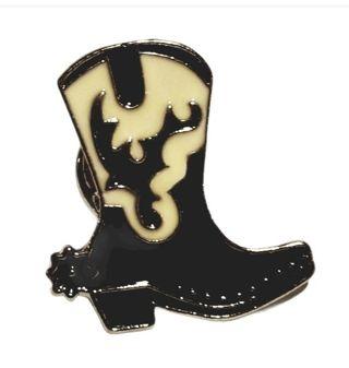 Cowboy boot pin black white New Free ship