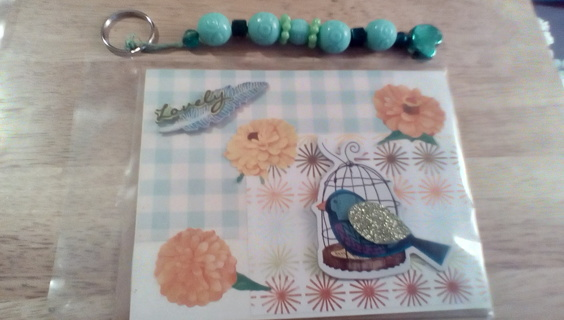 Handmade Card With Envelope & Keychain: New