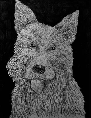 "CUTE WESTIE TERRIER - 5 x 7"" Art Card by artist Nina Struthers - GIN ONLY"