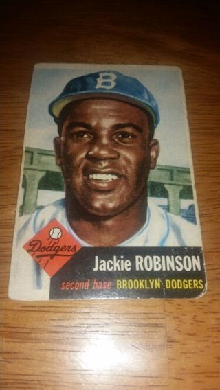 1953 Topps Baseball Jackie Robinson #1 Brooklyn Dodgers in good/very good condition, free shipping!