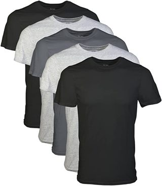 5 new Mens black and gray t shirts Size Small Medium Large X and XX Large