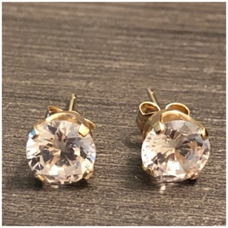 Real 14KT Yellow Gold Round CZ Stud Earrings