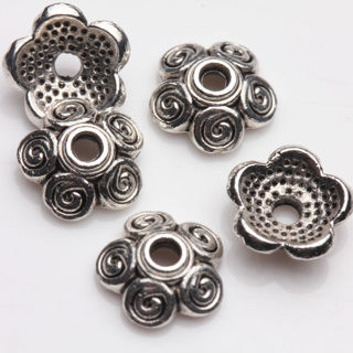 50PCs Tibet Silver Plated Cute Flower Spacer Bead Caps Jewelry Finding DIY 8x3mm