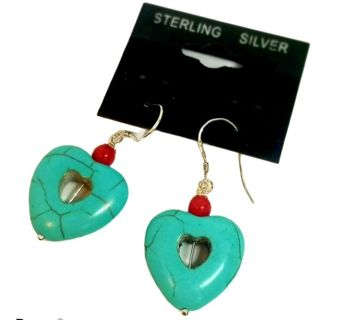 Navajo style coral and Turquoise hearts drop earrings Sterling silver 925' New free ship