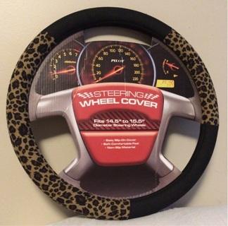 Black & Leopard Print Steering Wheel Cover