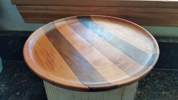 Wooden Treen Butcher Block Bread Board Cheese Platter Lathe Turned;Cherry Maple Walnut OLD