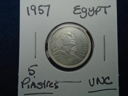 1957 EGYPT SILVER GIZA SPINX 5 PIASTRES UNC CONDITION!