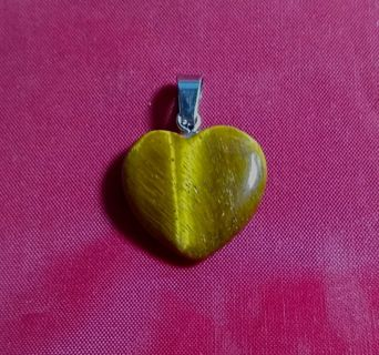 PENDENT HEART TIGER EYE 20 MM NATURAL GEMSTONE AND JUST BEAUTIFUL LOOK!