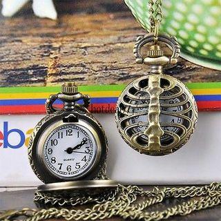 Fishbone Hollow Vintage Bronze Steampunk Quartz Necklace Pendant Pocket Watch 8H