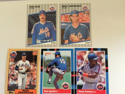 5 METS D. AASE, W. WHITEHURST, R. ANDERSON, R. AGUILERA & R. SANTANA TRADING CARDS